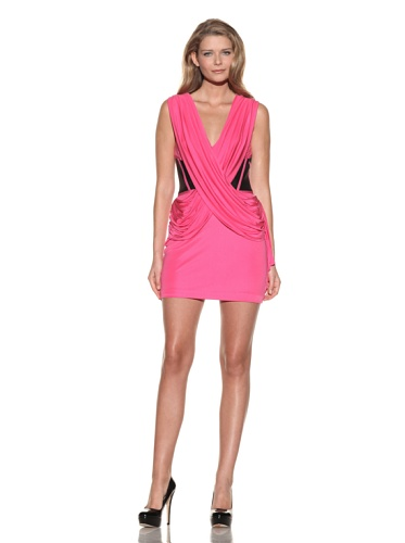 Foley + Corinna Women's Double Sash Dress with Leather Corset (Hot Pink)