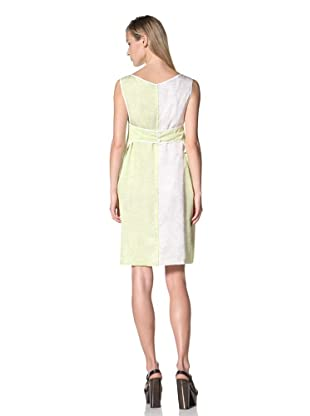 JIL SANDER NAVY Women's Sleeveless Belt Backstriped Dress (White/Yellow)