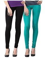 Blackmilan Women's Leggings (ZBMWL-1004-Black-Green_Multi-Coloured_X-Large)