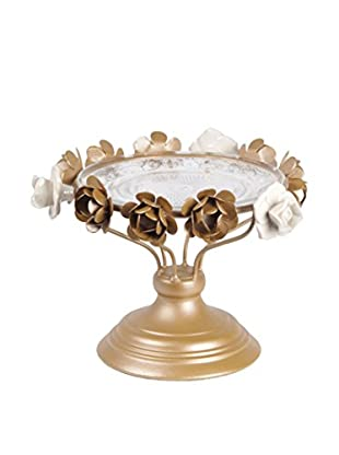 Privilege Small Glass Tray With Metal Base, Gold