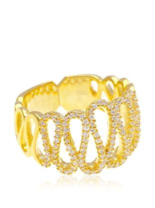 Silver Luxe Anillo Luna en Circonitas en Oro