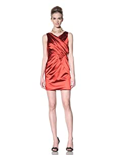 Bensoni Women's Draped Stretch Satin Dress (Fiery Red)