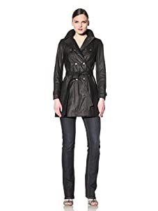 Hare + Hart Women's Washed Leather Trench (Black)