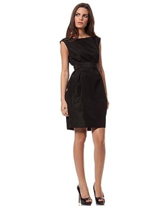 Caramelo Vestido Recto Con Cinturón (Negro)