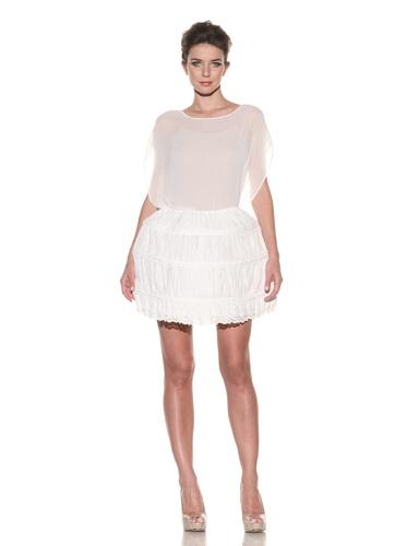 D&G by Dolce & Gabbana Women's Shirred Hoop Skirt (White)