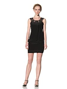 Philosophy di Alberta Ferretti Women's Silk Dress with Embellished Mesh Neckline (Black)