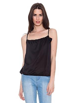 Santa Bárbara Camiseta Con Elástico (Negro)
