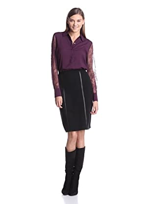 Calvin Klein Women's Long Sleeve Top With Lace Sleeves (Aubergine)