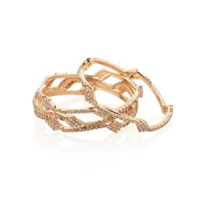 Voylla.com Gold Plated Cubic Zirconia Studded Bangle Set For Women -Gold