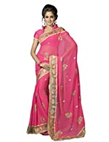 Suvastram Chiffon Saree With Blouse Piece (Surs1392 -Pink)