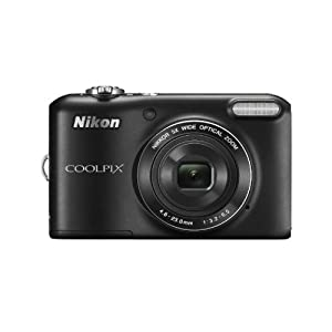 Nikon Coolpix L28 20.1MP Point and Shoot Camera (Black) with 5x Optical Zoom, 4GB Card and Camera Case