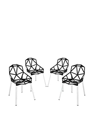 Modway Set of 4 Connections Dining Chairs, Black