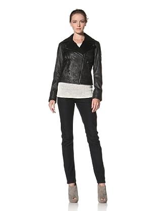 Buffalo David Bitton Women's Washed Lamb Skin & Wool Mixed Jacket (Black)
