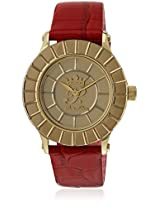 H Ph13589Jsg/06 Red/Golden Analog Watch Paris Hilton