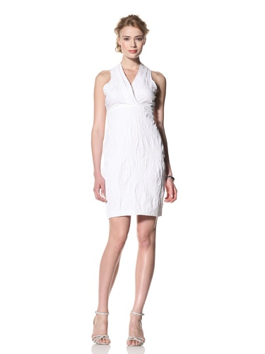 Andrew Marc Collection Women's Sleeveless Dress with Surplice Neckline (White)