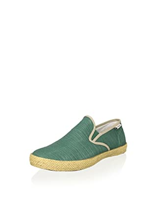 SeaVees Men's Baja Slip-On Espadrille (Ceramic Green/Fontana Grey Slub)