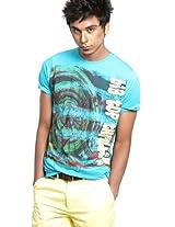 Aqua Blue Crew Neck T Shirts