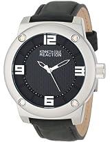 Kenneth Cole Reaction Kenneth Cole Reaction Unisex Rk1312 Street Silver Case Black Leather Strap Analog Watch - Rk1312