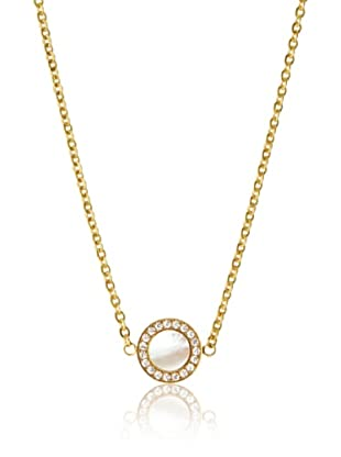 Chloe Collection By Liv Oliver Golden Mother of Pearl & Crystal Disc Necklace