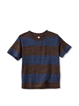 Colorfast Apparel Boy's Heathered Stripe Tee (Brown/Blue)