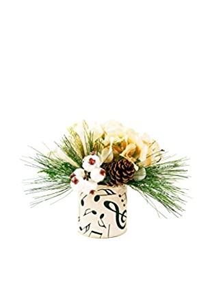 Creative Displays Music Note Winter Evergreen Pot, Crème/White/Black/Green