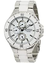 Armitron Men's 20/4794WTWT White Ceramic Bracelet Multi-Function Silver-Tone Watch