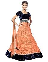 Clickedia Women Velvet & Net Dress Material (Peachnet _Peach _Free Size)