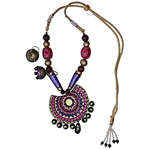 Petals of Earth Terracotta pink and violet semicircular set with jhumka