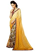 Ethnic Station Yellow Printed Saree