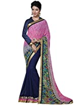 Indian Women Georgette Pink And Blue Saree