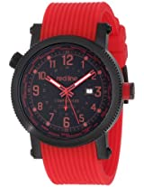 Red Line Watches, Men's Compressor World Time Black IP Case Black Dial Red Silicone, Model 18003-BB-01RD