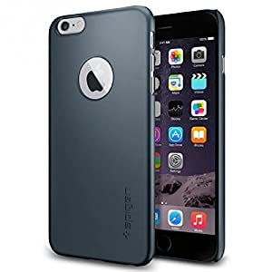 Spigen® [Logo Shield] iPhone 6 Plus (5.5) Case Slim **NEW** [Fit Series] [Thin Fit A] [Metal Slate] Premium SM Coated Matte Hard with Apple Logo Cutout Case - ECO-Friendly Packaging - Slim Case for iPhone 6 Plus (5.5) (2014) - Metal Slate (SGP10887)