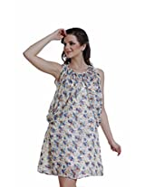 Meiro Women's A-Line Dress (14117_Off-White_Large)