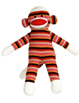 12 Inch Pink Striped Sock Monkey with Velcro Hands