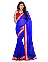 Sourbh Saree Blue Faux Georgette Must Have Best Sarees for Women Party Wear, Special Karwa Chauth Gifts,Women Clothing Collection