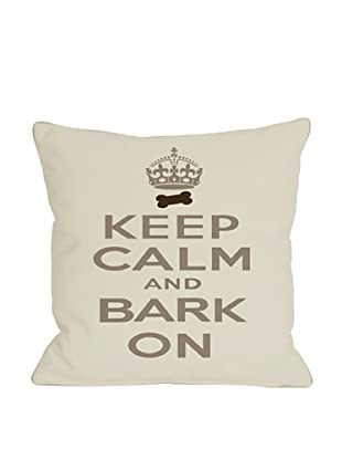 One Bella Casa Keep Calm, Bark On Pillow, Ivory/Tan