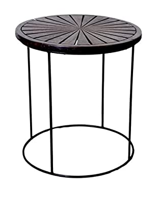 Jeffan Geo Round Nesting Side Table, Dark Brown