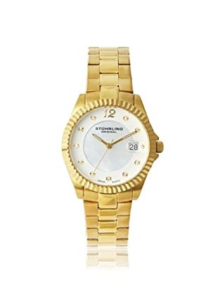 Stuhrling Original Women's 498.11337 Lady Clipper Mother of Pearl Gold-Tone Stainless Steel Watch