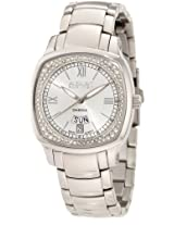 August Steiner Women's ASA816SS Day Date Diamond Swiss Quartz Watch