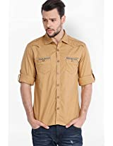 Solid Khaki Casual Shirt