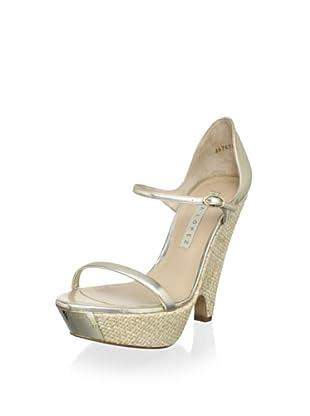 Pura López Women's Modified Wedge Sandal (Murano Platin/Natural)