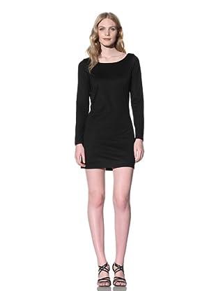 Iron Women's Long Sleeve Dress with Self-Fringed Back (Black)
