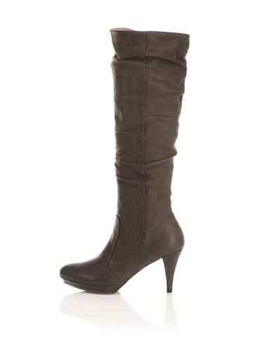 Pura Lopez Women's Platform Knee Boot (Dark Charcoal)