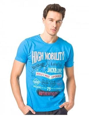 JACK & JONES Camiseta Label S/S (Azul)