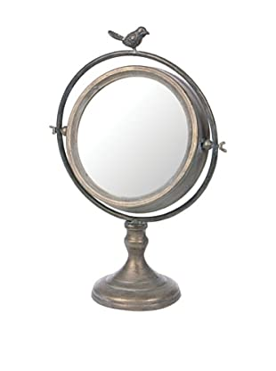 Skalny Round Tilt Mirror with Bird on Stand