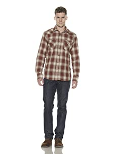 Shirt by Shirt Men's Checkered Snap-Front Shirt (Brown/Cream)