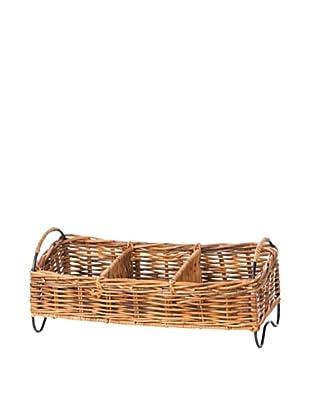 Skalny Rattan/Metal 3-Compartment Storage Basket