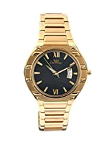 Ciemme Luxury Dress Gents Swiss Movement Quartz Golden Case-Band Black Dial 3 ATM Date@3!