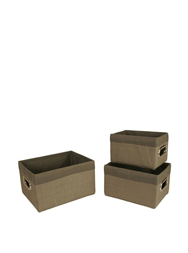Wald Imports Set of 3 Woven-Paper Storage Baskets (Grey)