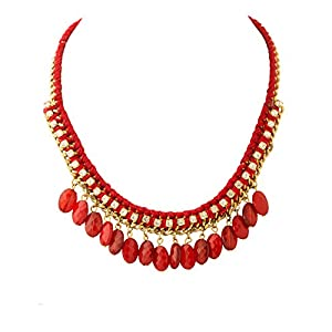 Voylla Fascinating Statement Necklace In Red Color With CZ Stones [Jewellery]